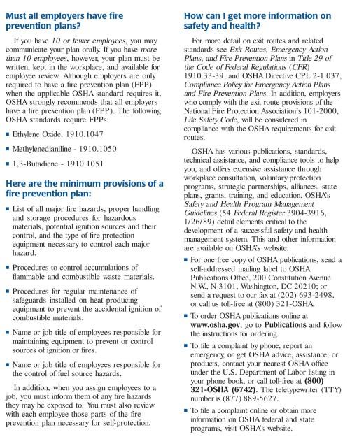 OSHA Fire Prevention Plan