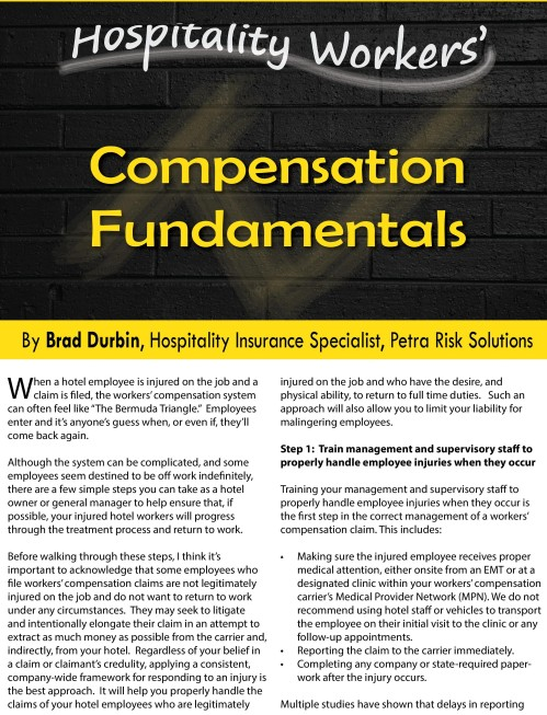 Hospitality-Workers-Compensation- Fundamentals by Brad Durbin of Petra Risk Solutions page-001