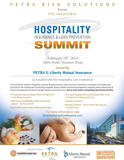 Hospitality Insurance & Loss Prevention Summit Feb 10 2014 Petra Risk Solutions