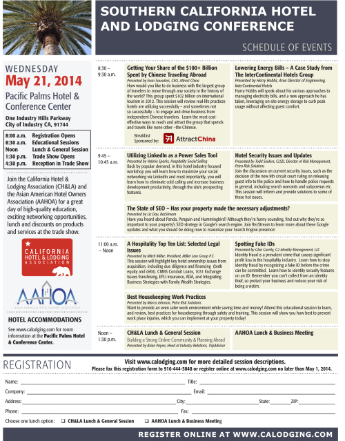 """Hospitality Industry Conference Update"""" Southern California Hotel and Lodging Conference"""""""